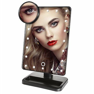 Intelligent adjust bright LED Lighted Movable Vanity Mirror with10x Side Mirror