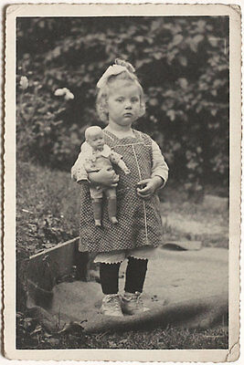 Original vintage 1930s girl with doll