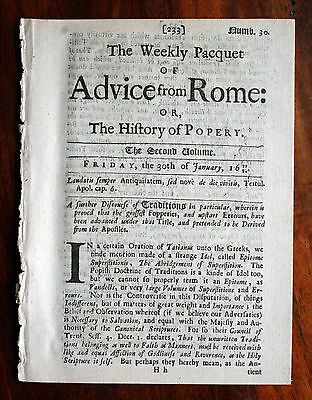 1679 Original Newspaper The Weekly Pacquet Of Advice From Rome - History Popery