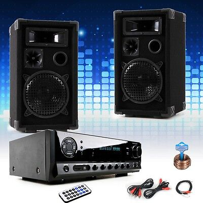 Party Disco Event Music PA DJ equipment Bluetooth Amplifier USB SD MP3 Box Set