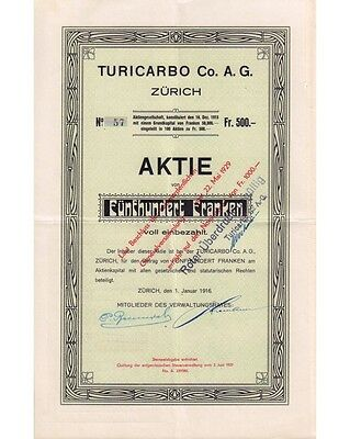 Turicarbo Co. AG 500 Franken 01/1916