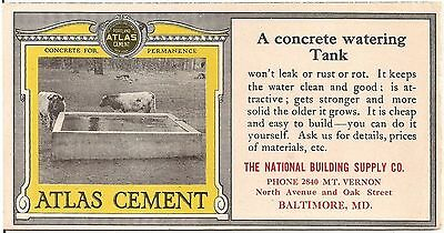 Atlas Cement National Building Supply Co. Baltimore MD Advertising Ink Blotter