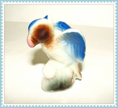 "Vintage Collectible Parrot Figurine Made In Japan Rare Bird Blue 2-1/2"" Tall !!"