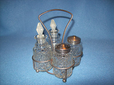 VTG Pressed Glass Oil~Vinegar~Salt~Pepper Cruet Set w/Metal Castor Carrier Caddy