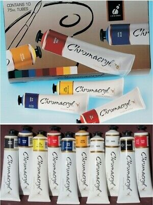 Chromacryl Student Acrylic Paint  Boxed Set 75ml Tubes 10 Pack - CC80300
