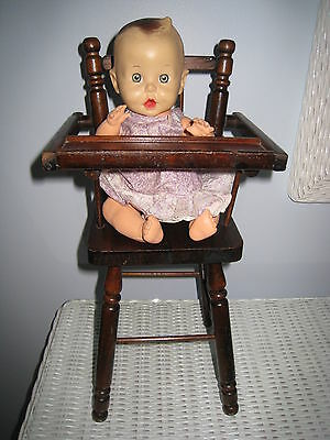 Vintage Sun Rubber Gerber Baby Doll with Wood High Chair - Squeaker Works!