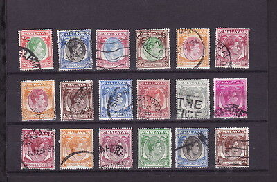 SINGAPORE 1949-52 KGVI Perf 17.5 x18 DEFINITIVE STAMPS to $5 (L363) - GOOD USED
