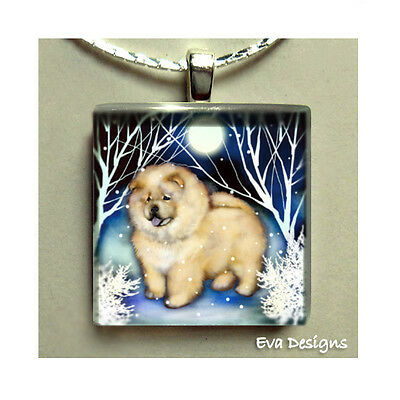 Cream Chow Chow Dog White Forest Necklace Jewelry Glass Tile Pendant Chain