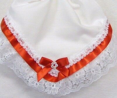 Baby Girls Frilly Knickers White With Lace And Red Ribbon Trim