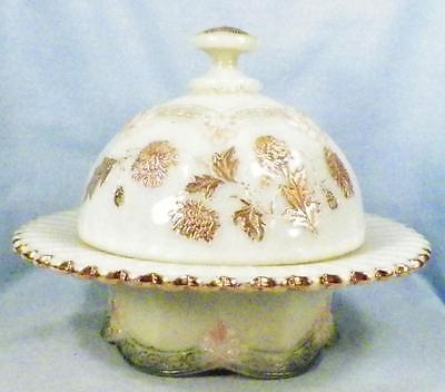 Northwood Chrysanthemum Sprig Butter Dish Custard Glass Early American Pattern