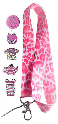 Cheshire Cat Lanyard Set with 5 Trading Pins Walt Disney World Parks ~ Brand NEW