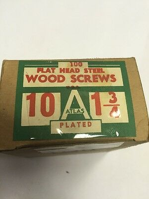 Vintage ATLAS #10 X 1 3/4 Inch FLAT  Head SLOTTED PLATED Wood Screws 100 PER box