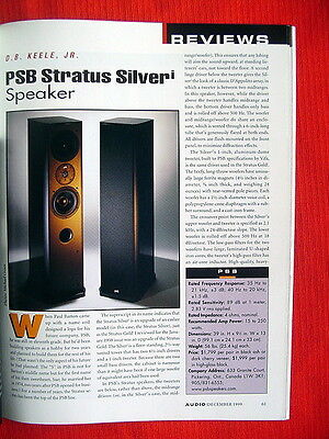 """PSB Stratus Silver i loudspeakers test review """"Audio"""" magazine 12/99"""