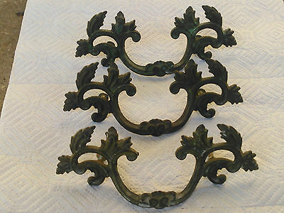 "Antique French Provincial Brass Ornate Drawer Pulls 6"" (3)"
