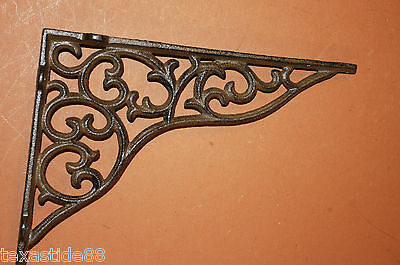 "(8)pcs, 11"" SHELF BRACKETS, CAST IRON, LARGE, VINTAGE LOOK, DIY SHELVING, B-18"