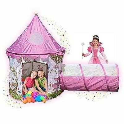 Playz Sunroof Princess Castle with Tunnel and Case Ball Pit Play Tent Kids Toy