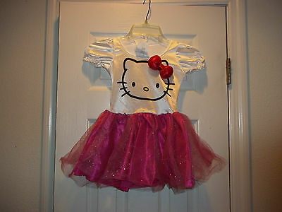 Hello Kitty Girls dress w/ kitty head band Size small great dressup halloween