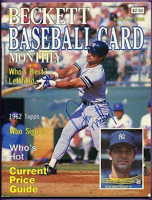 Don Mattingly N.y. Yankees Autographed 1986 Beckett Baseball Card Monthly W/coa
