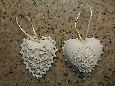 2 Margaret Furlong porcelain Christmas heart ornaments & boxes from the 1980's