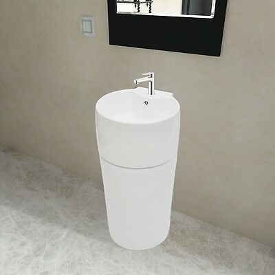 Stand Round Vanity Basin Bathroom Wash Sink Ceramic White Overflow Faucet Hole