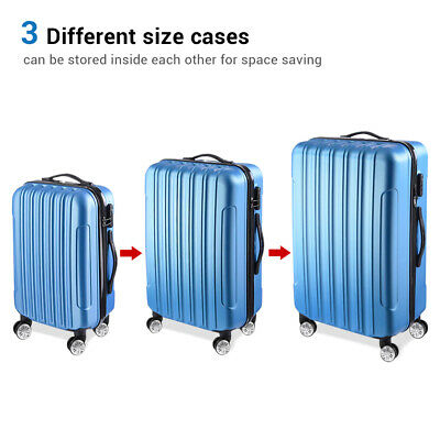 "3Pcs Luggage Travel Set Bag ABS Wheeled Trolley Suitcase Code Lock 20""-24""-28"""