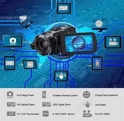 1080P Full HD Video Camera Touch Screen 120x Digital Zoom 24MP For Ordro HDV-Z80