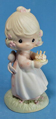 1990 Precious Moments Figurine Girl Candles Cake~ May Your Birthday be Blessing