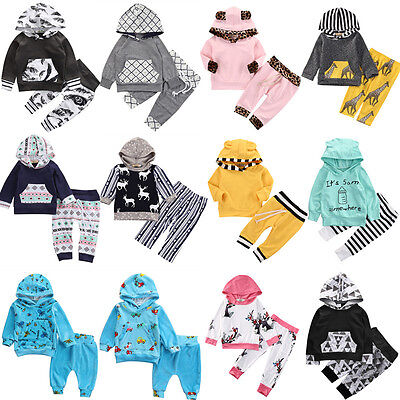 2PCS Newborn Toddler Baby Outfits Boy Girl Clothes Hoodie T-shirt Tops+Pants Set