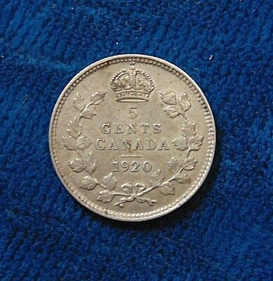1920 CANADA  Canadian FIVE 5 cents piece silver coin