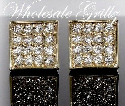 NEW Mens Small 14k Gold Gp iced out Simulated Lab Diamond Prong Tip Earrings 7mm