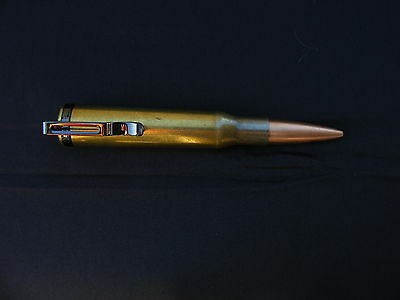 SNIPER BULLET PEN 50cal BMG BRASS;TRENCH ART RETRACT UNPOLISHED WITH POCKET CLIP