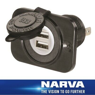 Narva HDRV Power Heavy-Duty Dual USB Socket 81134BL Surface Mount