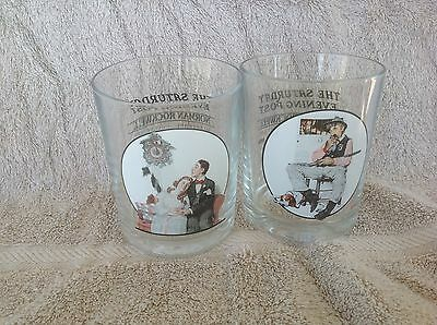 2 Vintage Norman Rockwell The Saturday Evening Post Glassware Glasses