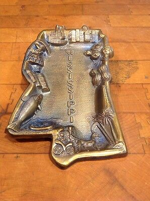 Vintage Mini Mississippi Souvenir Metal Tray Bronze Copper Patina Made in Japan