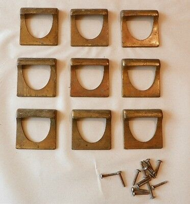 9 Vintage Bin Pulls Handles Drawer Apothecary Hardware Store, Solid Brass