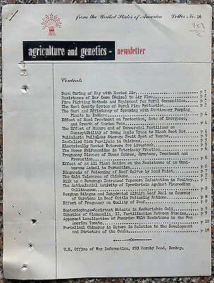 """""""Agriculture and Genetics"""" #26 1945 newsletter 10pgs"""