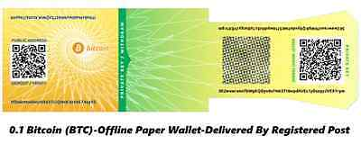 Bitcoin (BTC) Paper Wallet - Delivered By Registered Post - By CryptoCoinShop