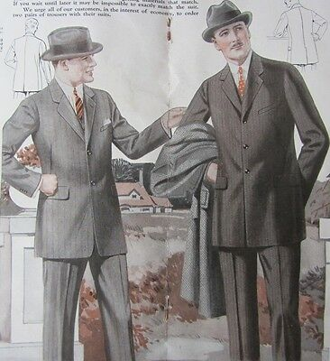1924 Men's Clothing Catalog~ Real FABRIC Samples Suits Coats Sears Made to Order
