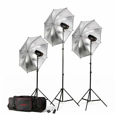 Godox 450W 3* K150A  Studio Strobe Photo flash Lighting stand Umbrella Bag Kit
