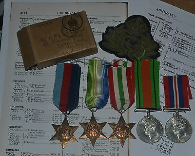 Ww2 Hms Columbine Officers Royal Navy Medal Group With Box Of Issue