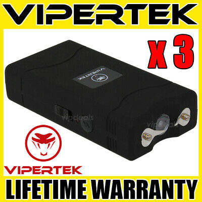 (3) VIPERTEK BLACK VTS-880 Mini Stun Gun Self Defense Wholesale Lot