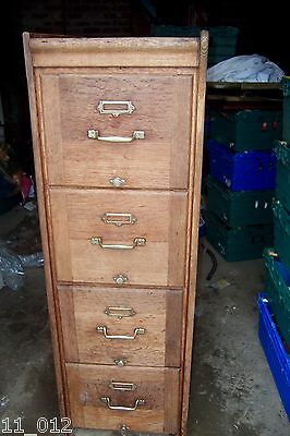 Vintage/antique good quality oak filing cabinet with brass fittings 4 drawer