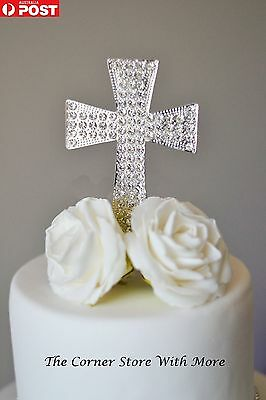 Easter Baptism Cross Cake Topper Holy Communion Crystal Decoration Pick Silver