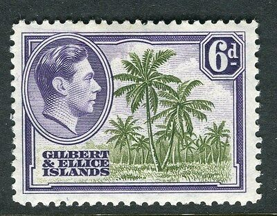 GILBERT ELLICE ISLANDS;  1938 early GVI issue Mint hinged 6d. value