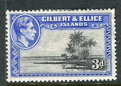 GILBERT ELLICE ISLANDS;  1938 early GVI issue Mint hinged 3d. value