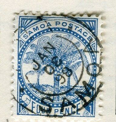 SAMOA;  1890s early classic Palm Tree issue fine used 4d. value