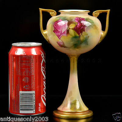RARE ROYAL WORCESTER Twin Handle Rose Hand Painted English Porcelain Vase c.1924