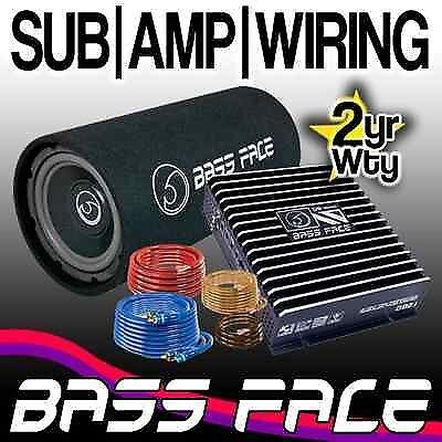 """Bass Face 8"""" Car Bass Tube Sub Box Subwoofer / Wiring Kit / Amplifier Amp Pack"""