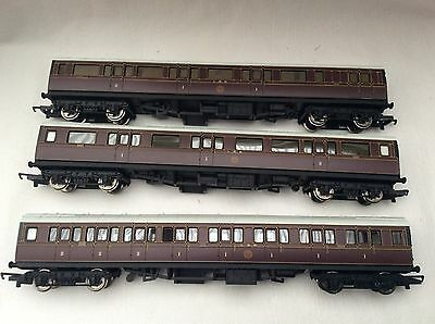 HORNBY 00 GAUGE RAKE OF 3x LMS CALEDONIAN COACHES FROM 'LAST SINGLE WHEELER SET'
