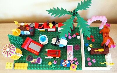 LEGO Friends Andrea Baseboard & Lots of Accessories Horse BBQ Trees & More